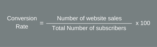 conversion rate formula to know the sales from subscribers